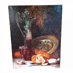 Tableau de nature morte avec carafe et agrumes