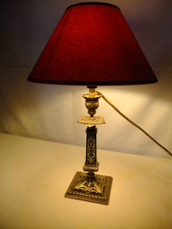 Lampe bougeoir marqueterie BOULE