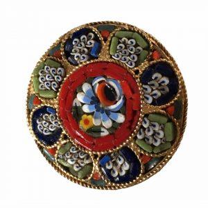 Broche en micro-mosaïque avec motifs fleurs