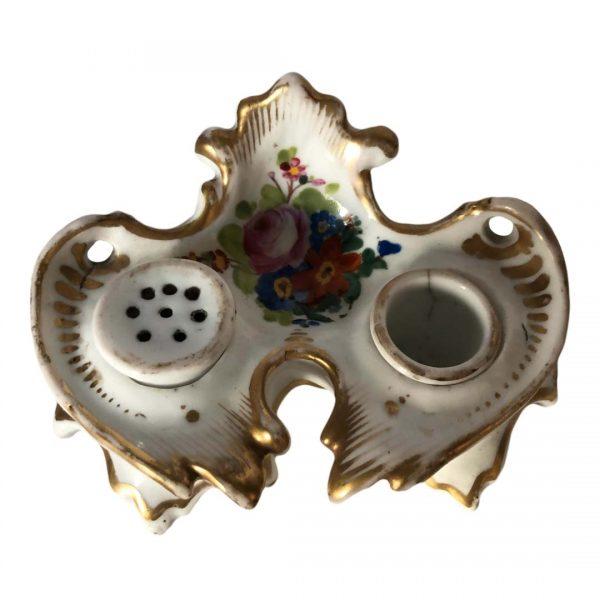 Encrier Napoléon III en porcelaine de Paris