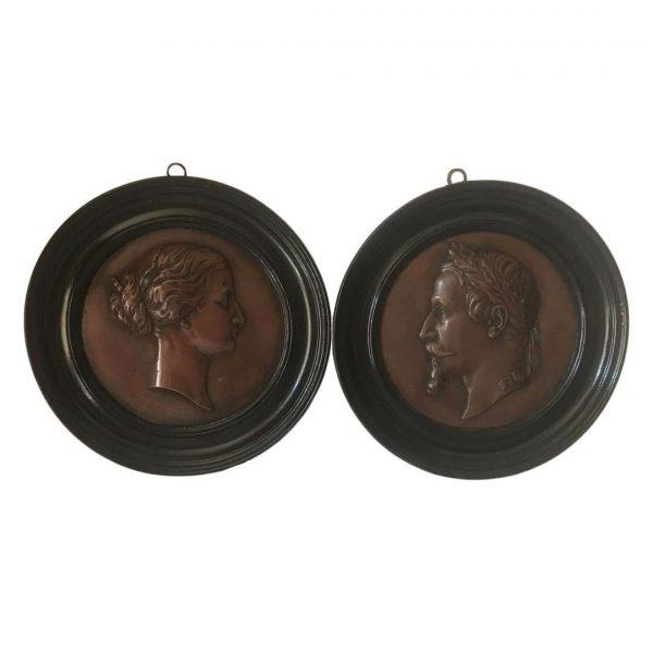 Médaillons Napoléon III en laiton platiné bronze