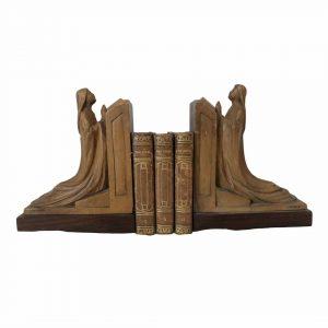 Serre-livres en bois clair signés ERNY