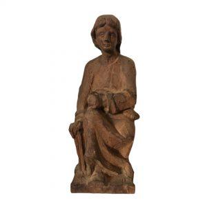 Statuette sculptée en bois artisanat populaire