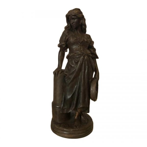 Statuette en terre cuite femme avec tambourin