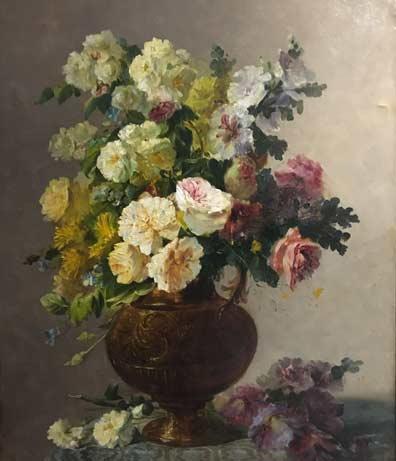 Tableau floral après restauration de Sophie de Lamar