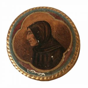 Boite bois doré à décor d'ecclésiastique