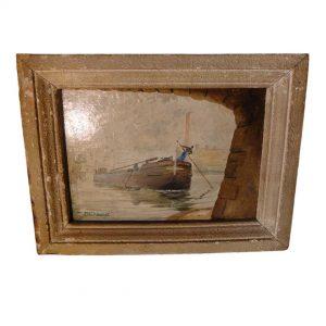 Tableau huile sur carton ancien