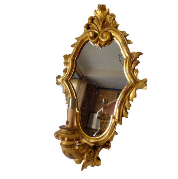 Applique miroir en bois doré